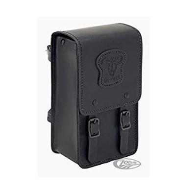 Bolsa De Piel Negra Texas Leather X Sissybar Respaldo Universal Compatible Con Moto Harley Davidson