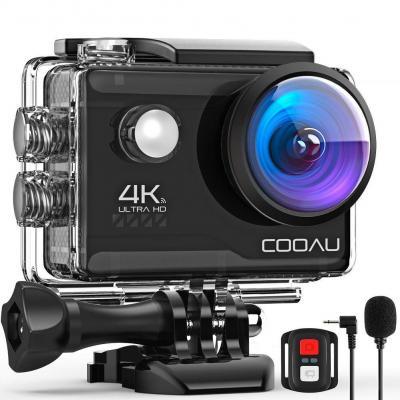 COOAU Cámara Deportiva 4K WiFi 20MP Camara Acción Sumergible Agua de 40M con Control Remoto y Micrófono Externo