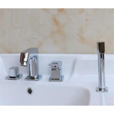Muzyo Lavabo de baño Grifo Mezclador con Ducha de Mano bañera de hidroMasaje Chapado en Oro a la Plancha Fregadero de latón Mezclador Grifo C
